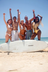 Friends with a surfboard