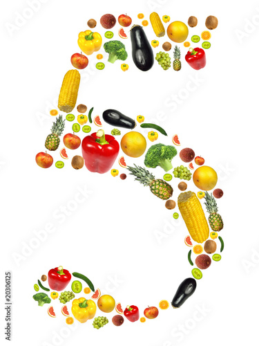 "Number ""5"" made of fruit background"