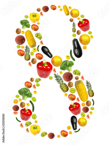 "Number ""8"" made of fruit background"