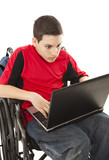 Disabled Teen on Laptop - Shocked poster