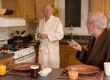 mature gay couple having breakfast