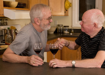 Mature married gay couple having wine and showing affection