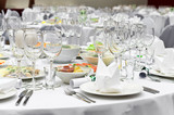 Elegant banquet tables prepared for conference or party poster