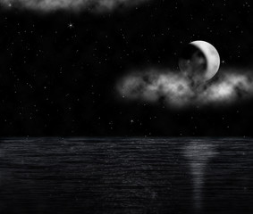 luna crescente sull'oceano_black