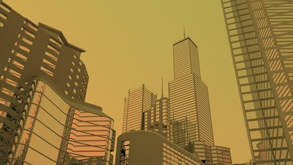 smog city, skyline city view background