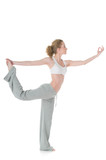 Young woman doing yoga, Lord of the Dance / Natarajasana positio poster