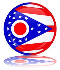 Ohio State Round Flag Button (USA America Vector Web Shiny)