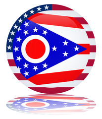 Ohio State Round Flag Button (USA America Vector Web)