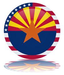 Arizona State Round Flag Button (Arizonan USA Vector Reflection)