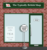 Polite queue sign at the Typically British Shop poster