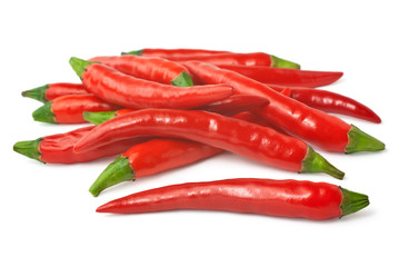 Spicy red chilies isolated on white background