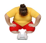 overweight women on scales poster