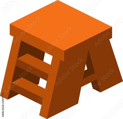 Wooden footstool on white background