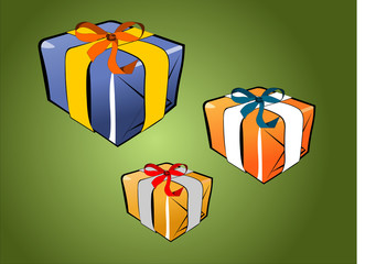 Gift pack on green