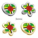 vector illustration of dominica flag in heart and flower shape