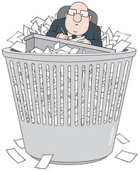 Bureaucrat in wastepaper basket