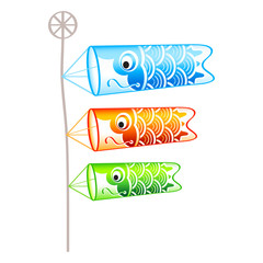 Family of japanese carp(koi)-shaped wind socks on pole