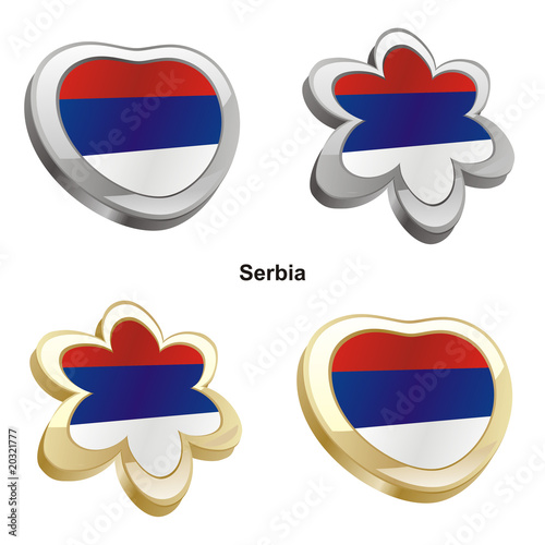 vector illustration of serbia flag in heart and flower shape