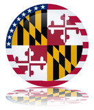 Maryland State Round Flag Button (USA America Vector Reflection)
