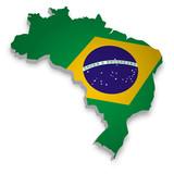 Fototapety Brasilien Karte 3D Flagge