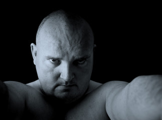 dark male portrait head shot angry man