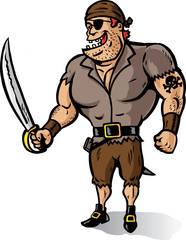 Cartoon of a Muscular Pirate ready to plunder. Part of a series
