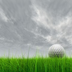 High resolution 3d white golf ball in green grass background