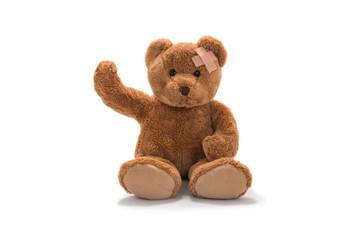Teddy Bear waving with bandage