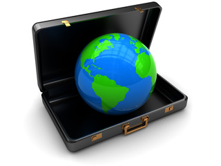 suitcase with earth globe