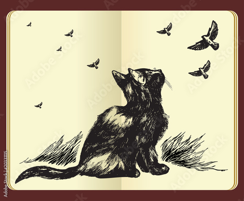 Moleskine drawing of a cat looking up at flying birds