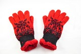 red winter gloves