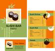 Template of sushi & maki menu and business card