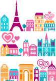 Cute  silhouettes of Paris landmarks - European cities series poster