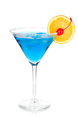 Cocktail collection - Blue martini with orange and maraschino