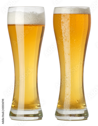 Two tall glasses of beer