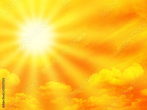 canvas print picture Orange sky and sunbeam