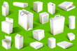 White blank Boxes isolated on green background