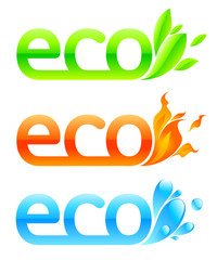 Three eco emblems - greens, aqua and fire