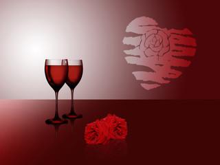 Rotwein zum Valentinstag