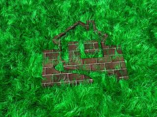 Haus im Grass versteckt