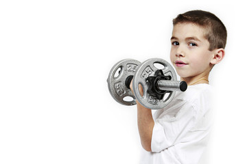 Healthy lifestyle child exercising dumbbell weight