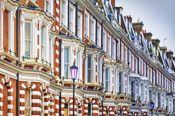 Row of terraced houses at West-London.