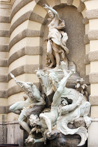 Exquisite fountain on the facade of Hofburg Palace, Vienna