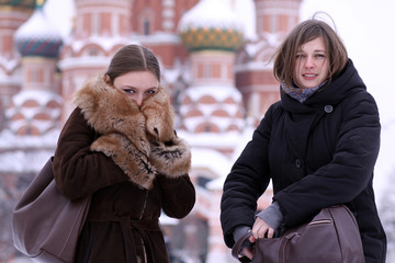 Two girls tourists in Moscow (Russia)