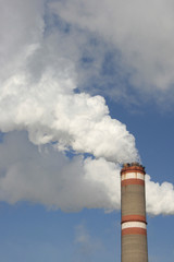 Pipe of electric power station and smoke from it
