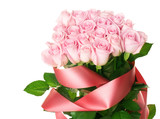 Big Pink Roses Bouquet isolated on white