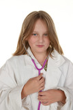 young girl pretending to be a doctor poster