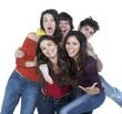 groupe de cinq jeunes amis plaisir vie