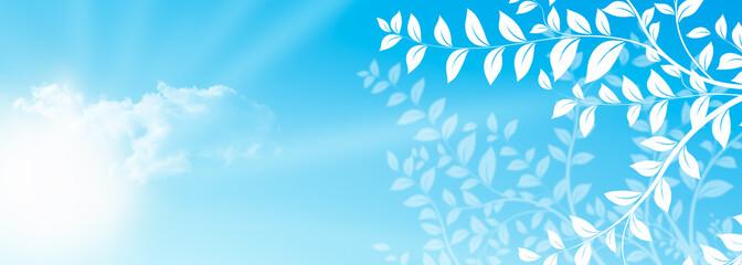 nature au printemps avec ciel bleu - bannière horizontale
