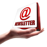 Newsletter Button auf Hand poster